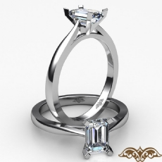 Tapered 4 Prong Solitaire diamond Ring 14k Gold White