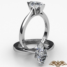 Tapered 4 Prong Solitaire Marquise diamond  Ring in 14k Gold White