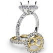 French U Split Pave Halo Diamond Engagement Ring Setting Platinum 950 1Ct - javda.com