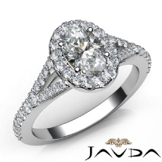 Side Stone Halo Pave Set Oval diamond engagement Ring in 14k Gold White
