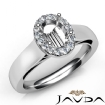 Oval Diamond Engagement Halo Pave Setting Semi Mount Ring 14k White Gold 0.2Ct - javda.com