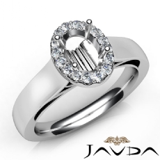 Oval Diamond Engagement Halo Pave Setting Semi Mount Ring 14K White Gold 0.20Ct