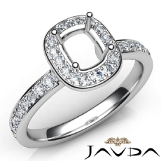 Diamond Engagement Halo Pave Setting Cushion Semi Mount Ring 14K W Gold 0.37Ct