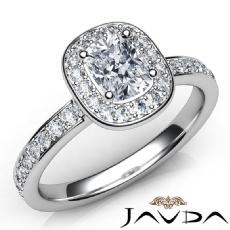 Halo Pave Set Anniversary Cushion diamond engagement Ring in 14k Gold White