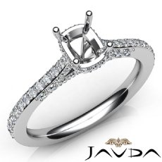 Diamond Engagement Pave Setting 14K White Gold Cushion Semi Mount Ring 0.52Ct