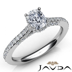 Classic Accent Bridge Pave Cushion diamond engagement Ring in 14k Gold White