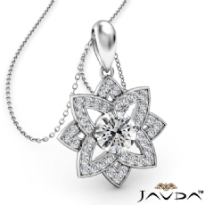 Snowflake Diamond Pendant Necklace In Platinum 950 18 Inch Chain  (0.67Ct. tw.)