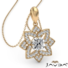 Snowflake Diamond Pendant Necklace In 14k Gold Yellow 18 Inch Chain  (0.67Ct. tw.)