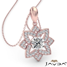 Snowflake Diamond Pendant Necklace In 14k Rose Gold 18 Inch Chain  (0.67Ct. tw.)