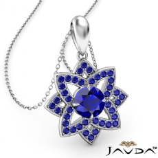 Snowflake Sapphire Pendant Necklace In 14k White Gold 18 Inch Chain 0.67Ct.