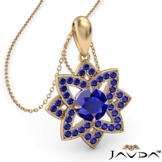 Snowflake Sapphire Pendant Necklace In 14k Gold Yellow18 Inch Chain <Dcarat>