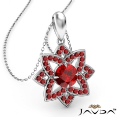 Snowflake Ruby Pendant Necklace In 18k Gold White 18 Inch Chain <Dcarat>
