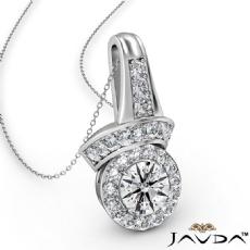 Designer Halo Diamond Pendant Necklace 14k White Gold 18 Inch Chain 0.42Ct