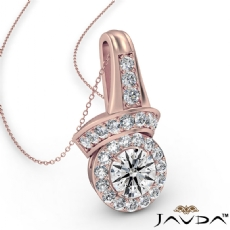 Designer Halo Diamond Pendant Necklace 14k Rose Gold 18 Inch Chain  (0.42Ct. tw.)