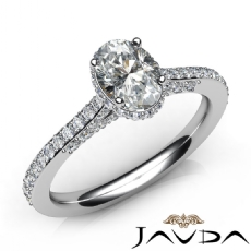Side Halo Classic Sidestone Oval diamond engagement Ring in 14k Gold White