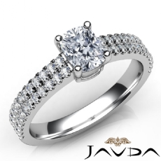 2 Row Shank U Prong Set Cushion diamond engagement Ring in 14k Gold White