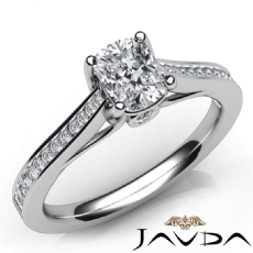 Bezel Channel Setting Cushion diamond engagement Ring in 14k Gold White