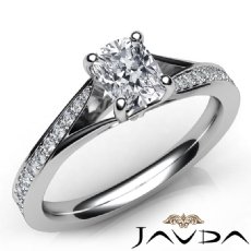 Classic 4 Prong Pave Set Cushion diamond engagement Ring in 14k Gold White