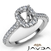 Diamond Engagement Cushion SemiMount Shared Prong Setting Ring 14k White Gold 0.35Ct - javda.com