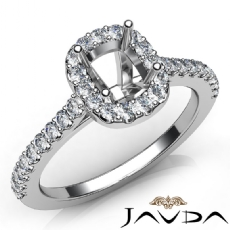 Diamond Engagement Cushion SemiMount Shared Prong Setting Ring 14K W Gold 0.35Ct