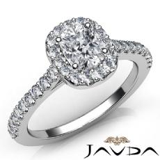 U Cut Halo Pave Setting Cushion diamond engagement Ring in 14k Gold White
