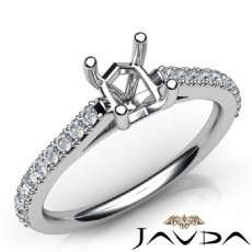 Double Prong Setting Diamond Engagement Cushion SemiMount Ring 14K W Gold 0.25Ct