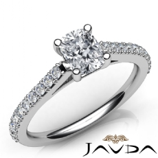 Shared Prong Style Accent Cushion diamond engagement Ring in 14k Gold White