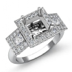 3 Stone Diamond Engagement Round Princess Setting Ring 14k White Gold Semi Mount 2.15Ct - javda.com