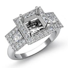 3 Stone Diamond Engagement Round Princess Setting Ring 14K W Gold Semi Mount 2Ct