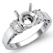 Three 3 Stone Oval Round Diamond Anniversary Ring 14k White Gold Semi Mount 0.45Ct - javda.com