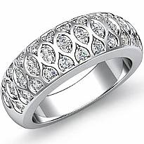 Antique Women's Half Wedding Ring Round Pave Diamond Band 14k White Gold 0.51Ct