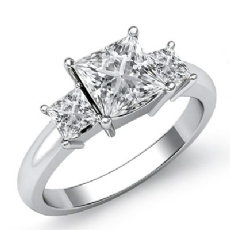 Classic Prong Set 3 Stone Princess diamond engagement Ring in 14k Gold White