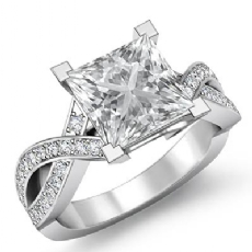 Cross Shank Pave Set Princess diamond engagement Ring in 14k Gold White
