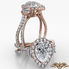 Baguette 3 Stone Basket Halo Pear diamond  Ring in 14k Rose Gold