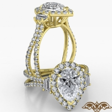 Baguette 3 Stone Basket Halo Pear diamond  Ring in 14k Gold Yellow