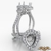 Pear Semi Mount French Pave 3 Stone Halo Diamond Engagement Ring 14k White Gold 1.1Ct - javda.com