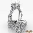 Round Cut Semi Mount Halo Split Shank Diamond Engagement Ring 14k White Gold 1.1Ct - javda.com