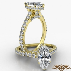 Cathedral Hidden Halo U Pave Marquise diamond  Ring in 14k Gold Yellow
