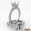 Round Semi Mount French U Pave 14k White Gold Accent Diamond Engagement Ring 0.9Ct - javda.com