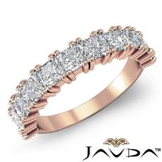 Duet Prong Princess Diamond Half Wedding Band 14k Rose Gold Women's Ring  (2Ct. tw.)