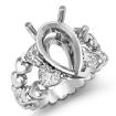 1Ct Antique Heart & Pear Diamond Engagement Ring Setting 14k White Gold Semi Mount - javda.com