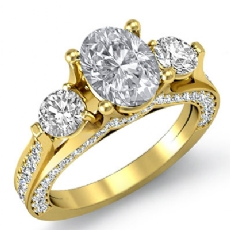 Three Stone Bridge Accent diamond Ring 14k Gold Yellow