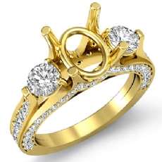 Three Stone Round Diamond Engagement Ring 14k Gold Yellow Oval Cut Semi Mount  (1.3Ct. tw.)