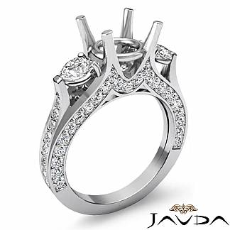 Diamond Engagement Unique Three Stone Ring 18k White Gold