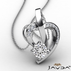 Round Diamond Accent Heart Pendant Necklace In 18k Gold White  (0.6Ct. tw.)
