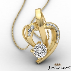 Round Diamond Accent Heart Pendant Necklace In 14k Gold Yellow  (0.6Ct. tw.)