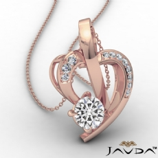 Round Diamond Accent Heart Pendant Necklace In 14k Rose Gold  (0.6Ct. tw.)