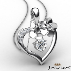 Flower Heart Pendant Necklace In 14k White Gold Round Diamond 0.55Ct