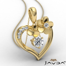 Flower Heart Pendant Necklace In 14k Gold Yellow Round Diamond  (0.55Ct. tw.)