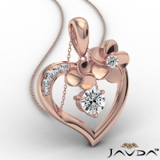 Flower Heart Pendant Necklace In 14k Rose Gold Round Diamond  (0.55Ct. tw.)